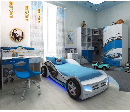 Детская комната La-man (комплектация 2)Детские комнаты<br>Детская комната La-man станет чудесным подарком для ребенка.  <br>  <br>    В конструкции мебели применяется ДСП немецкого производства, покрытая современными эмалями, благодаря которым за поверхностями мебели легко ухаживать. Для производства используются исключительно экологически чистые материалы.  <br>    <br>    <br>      Рисунки нанесены акриловыми красками - они не выгорают на солнце и ребенок их никак не отклеит, это безопасный материал. <br>   <br> В комплект входит: кровать-машина, стеллаж узкий, стеллаж угловой, стол и шкаф двухдверный.<br><br>Размер спального места: 90 см х 160 см<br>Габариты кровати 90 х 160: 110 см х 184 см<br>Размер спального места: 90 см х 190 см<br>Габариты кровати 90 х 190: 110 см х 214 см<br>Высота кровати: 66 см<br>Стеллаж угловой: 91,2 см х 75 см х 196,7 см<br>Стеллаж узкий: 45,2 см 36,6 см х 161,1<br>Стол: 100 см х 60 см х 108,5 см<br>Шкаф: 92 см х 60 см 196,7 см<br>Материал: ДСП<br>Цвет корпуса: белый<br>Цвет фасада: синий