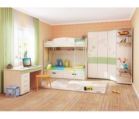 Детская комната АкварельГотовые наборы<br>Детская комната Акварель выполнена в пастельной цветовой гамме. <br> <br>  <br> <br> <br>Корпуса мебели выполнены из ЛДСП (22 мм) с ПВХ кромкой в цвете дуб Кобург, фасады комбинированные: ЛДСП (16 мм) с ПВХ кромкой в сочетании с МДФ в цвете Едера глянец.<br> <br> <br>  <br> <br> <br>Представленные на фото Детские комнаты Акварель состоят из модулей:<br> <br> <br>  <br> <br> <br>Модификация 1:<br> <br>53.11, 53.12, 53.01, 53.03, 53.05, 53.14<br> <br> <br>  <br> <br> <br>Модификация 2:<br> <br>53.12, 53.13, 53.09, 53.01, 53.04, 53.05<br> <br> <br>  <br> <br> <br>Модификация 3:<br> <br>53.10, 53.08, 53.13, 53.18, 53.01, 53.04, 53.05<br> <br> <br>  <br> <br> <br>Модификация 4:<br> <br>53.11, 53.08, 53.01, 53.04, 53.07, 53.15<br> <br> <br>  <br> <br> <br>Модификация 5:<br> <br>53.10, 53.16, 53.07, 53.03,53.04 (2 шт.),53.05, 53.14, 53.18<br><br>Размер спального места: 90 см х 200 см<br>Материал: ЛДСП, МДФ, ПВХ кромка<br>Цвет: дуб Кобург / Едера глянец
