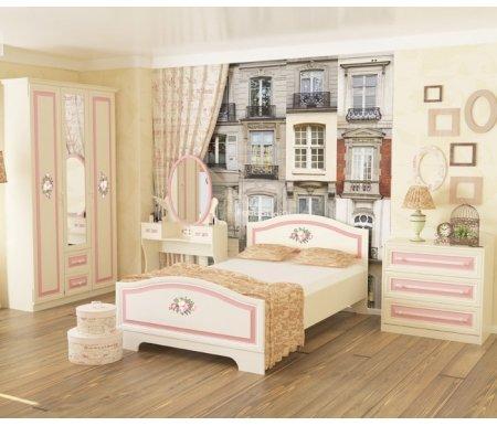 Детская комната Алиса 2Готовые наборы<br>Детская комната Алиса - отличное решение для спальни девочки. <br>        <br>       Нежная цветовая гамма и цветочный декор привнесут в атмосферу легкость и непосредственность. <br>        <br>       <br>        <br>       Комплектация шкафа: за распашными дверцами правой и левой секций расположены антресольная полка, вешалка для плечиков и полка в нижней зоне; центральная секция, с зеркальной распашной дверцей, комплектуется четырьмя полками для белья и двумя выдвижными ящиками. <br>        <br>       <br>        <br>       Глубина шкафа без декоративного карниза составляет 56,3 см. <br>        <br>       Высота трюмо до столешницы: 67,1 см. <br>        <br>       Высота комода без декоративной стенке в верхней части: 76,1 см <br>        <br>       <br>        <br>       <br>     <br>      Матрас не входит в стоимость комплекта. Необходимые размеры матраса для кровати - 120 см х 200 см.<br>     <br>       <br>        <br>       <br>     <br>       <br>        <br>       <br>     <br>   <br> <br>   <br>    Выбрать матрас<br>   <br>    Матрас не входит в стоимость кровати, но у нас вы можете приобрести ортопедический матрас подходящего размера. Доступен широкий ассортимент, посмотреть и выбрать можно в разделе матрасов. При возникновении вопросов обращайтесь к нашим менеджерам.<br><br>Кровать: 126,4 см х 204,8 см х 90,5 см<br>Трюмо: 84,2 см х 40,2 см х 148,5 см<br>Шкаф: 127,1 см х 59,6 см х 214,9 см<br>Комод: 80,2 см х 45,6 см х 87,1 см<br>Материал: ЛДСП<br>Цвет: белый, крем, розовая полоса