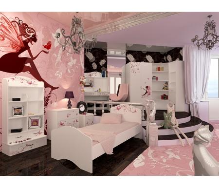 Детская комната Фэри (Faery) (комплектация 2)Готовые наборы<br>Детская комната Фэри (Faery) станет чудесным подарком для ребенка. <br> <br>  В конструкции мебели применяется ДСП немецкого производства, покрытая современными эмалями, благодаря которым за поверхностями мебели легко ухаживать. Для производства используются исключительно экологически чистые материалы. <br>    <br>   <br>    Рисунки нанесены акриловыми красками - они не выгорают на солнце и ребенок их никак не отклеит, это безопасный материал.<br>   <br> <br>   В комплект входят: кровать, комод, стеллаж узкий, стеллаж угловой, стеллаж широкий, шкаф двухдверный, тумба и стол. <br> <br>  Вы можете сформировать детскую комнату самостоятельно и добавить к комплектустол-стеллаж,стол без надстройкиилишкаф трехдверный.<br><br>Размер спального места: 90 см х 160 см<br>Габариты кровати 90 х 160: 97 см х 165,2 см<br>Размер спального места: 90 см х 190 см<br>Габариты кровати 90 х 190: 97 см х 195,2 см<br>Высота кровати: 101,1 см<br>Стеллаж (узкий): 45,2 см х 36,6 см х 196,7 см<br>Стеллаж (угловой): 91,2 см х 75 см х 196,7 см<br>Стол: 100 см х 60 см х 161,1 см<br>Комод: 75,2 см х 40,2 см х 81,7 см<br>Шкаф: 92 см х 60 см х 196,7 см<br>Тумба: 40,2 см х 40,2 см х 57,7 см<br>Стеллаж (широкий): 75,2 см х 36,8 см х 161,1 см<br>Материал: ДСП<br>Цвет корпуса: белый