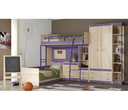 Детская комната Индиго 145.016Готовые наборы<br>Набор для детской комнаты с двумя спальными местами. Множество полок и ящиков позволит сэкономить место и разместить детские вещи. <br> <br>В комплект входят: кровать, кровать-чердак, комод, небольшой шкаф-стеллаж, двухдверный шкаф и угловой стеллаж.<br><br>Размер спального места: 80 см х 200 см<br>Габариты кровати-чердака: 115,8 см х 209,6 см<br>Высота: 188,4 см<br>Стеллаж торцевой: 34,2 см х 43 см х 220 см<br>Шкаф двухдверный: 87,6 см х 45 см х 220 см<br>Кровать: 84,6 см х 204,4 см х 73,2 см<br>Комод: 73 см х 45,4 см х 73,2 см<br>Шкаф-стеллаж для книг: 43,8 см х 42,5 см х 138 см<br>Материал каркаса: ЛДСП<br>Цвет каркаса: ясень Коимбра<br>Материал фасада: ЛДСП<br>Цвет фасада: ясень Коимбра / Навигатор