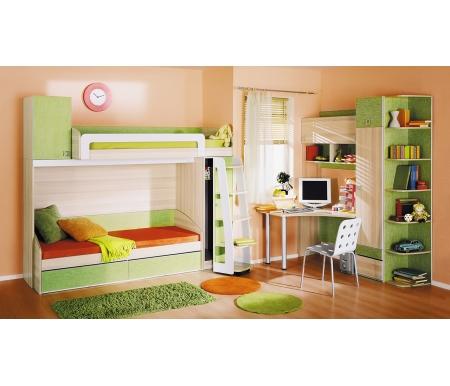 Детская комната Киви 139.012Готовые наборы<br>Набор мебели для детской комнаты Киви создан для уюта, комфорта и функциональности. <br>В комплект входят: кровать одноместная, кровать-чердак, стол, шкаф однодверный, стеллаж угловой и полка настенная.<br><br>Размер спального места: 80 см х 200 см<br>Габариты кровати: 84,1 см х 204,4 см<br>Высота: 70 см<br>Размер спального места: 80 см х 200 см<br>Габариты кровати: 123,7 см х 250,6 см<br>Высота: 220 см<br>Угловой стол: 116,4 см х 116,4 см х 73,2 см<br>Настольная полка: 116 см х 36,6 см х 138,6 см<br>Шкаф однодверный: 44 см х 45 см х 220 см<br>Стеллаж угловой: 35 см х 43,4 см х 220 см<br>Материал каркаса: ЛДСП<br>Цвет каркаса: ясень Коимбра<br>Материал фасада: ЛДСП<br>Цвет фасада: ясень Коимбра / Панареа