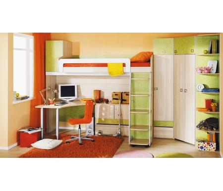 Детская комната Киви 139.015Готовые наборы<br>Набор мебели для детской комнаты Киви создан для уюта, комфорта и функциональности. <br>В комплект входят: кровать-чердак, стеллаж угловой, стол угловой, тумба, шкаф однодверный, шкаф угловой.<br><br>Размер спального места: 80 см х 200 см<br>Габариты кровати: 250,6 см х 123,7 см<br>Высота: 220 см<br>Шкаф угловой: 86,4 см х 86,4 см х 220 см<br>Стол угловой: 116,4 см х 116,4 см х 73,2 см<br>Тумба: 88 см х 45 см х 73,2 см<br>Шкаф однодверный: 44 см х 45 см х 220 см<br>Стеллаж угловой: 35 см х 43,4 см х 220 см<br>Материал каркас: ЛДСП<br>Цвет каркаса: ясень Коимбра<br>Материал фасада: ЛДСП<br>Цвет фасада: ясень Коимбра / Панареа
