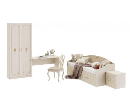 Детская комната Лючия (комплектация 1)Готовые наборы<br><br><br>Размер спального места: 80 см х 200 см<br>Габариты кровати: 83,9 см x 204,4 см x 70,4 см<br>Тумба прикроватная: 51,3 см x 44,8 см x 48,1 см<br>Стол письменный: 121 см x 59 см x 75,5 см<br>Шкаф двухдверный: 89,5 см x 42,9 см x 216,1 см