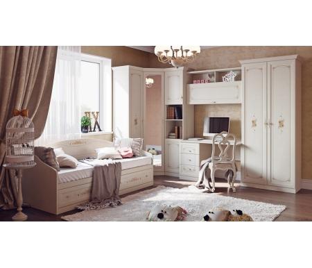 Детская комната Лючия (комплектация 3)Готовые наборы<br><br><br>Размер спального места: 80 см х 200 см<br>Габариты кровати: 83,9 см x 204,4 см x 70,4 см<br>Стол письменный: 121 см x 59 см x 75,5 см<br>Шкаф для белья однодверный: 49,2 см x 42,9 см x 216,1 см<br>Шкаф комбинированный открытый: 44,7 см x 42,9 см x 216,1 см<br>Шкаф настольный: 121 см x 29,8 см x 136,8 см<br>Шкаф двухдверный: 89,5 см x 42,9 см x 216,1 см<br>Шкаф угловой с зеркалом: 74 см x 74 см x 216 см<br>Карниз: 139 см x 3 см x 9 см