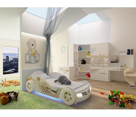 Детская комната Мишки (Bears) (комплектация 2)Готовые наборы<br>Детская комната Мишки (Bears) станет чудесным подарком для ребенка. <br> <br>  В конструкции мебели применяется ДСП немецкого производства, покрытая современными эмалями, благодаря которым за поверхностями мебели легко ухаживать. Для производства используются исключительно экологически чистые материалы. <br>    <br>   <br>    Рисунки нанесены акриловыми красками - они не выгорают на солнце и ребенок их никак не отклеит, это безопасный материал.<br>   <br> <br>   В комплект входят: кровать-машина, комод, стеллаж узкий, стеллаж угловой, шкаф двухдверный и стол. <br> <br>  Вы можете сформировать детскую комнату самостоятельно и добавить к комплектукровать классическую,стеллаж широкий,тумбу,стол-стеллаж,стол без надстройкиилишкаф трехдверный.<br><br>Размер спального места: 90 см х 160 см<br>Габариты кровати 90 х 160: 110 см х 184 см<br>Размер спального места: 90 см х 190 см<br>Габариты кровати 90 х 190: 110 см х 214 см<br>Высота кровати: 66 см<br>Стеллаж (узкий): 45,2 см х 36,6 см х 196,7 см<br>Стеллаж (угловой): 91,2 см х 75 см х 196,7 см<br>Стол: 100 см х 60 см х 161,1 см<br>Комод: 75,2 см х 40,2 см х 81,7 см<br>Шкаф: 92 см х 60 см х 196,7 см<br>Материал: ДСП<br>Цвет корпуса: белый