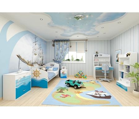 Детская комната Океан (Ocean) (комплектация 1)Готовые наборы<br>Детская комната Океан (Ocean) станет чудесным подарком для ребенка. <br> <br>  В конструкции мебели применяется ДСП немецкого производства, покрытый современными эмалями, благодаря которым за поверхностями мебели легко ухаживать. Для производства используются исключительно экологически чистые материалы. <br>    <br>   <br>    Рисунки нанесены акриловыми красками - они не выгорают на солнце и ребенок их никак не отклеит, это безопасный материал.<br>   <br> <br>   В комплект входят: кровать, тумба, комод, стеллаж широкий и стол с надстройкой. <br> <br>   <br>    <br>   <br> <br>  Вы можете сформировать детскую комнату самостоятельно и добавить к комплектустеллаж угловой,стеллаж узкий,стол без надстройки,шкаф двухдверныйилишкаф трехдверный.<br><br>Размер спального места: 90 см х 160 см<br>Габариты кровати 90 х 160: 97 см х 165, 2 см<br>Размер спального места: 90 см х 190 см<br>Габариты кровати 90 х 190: 97 см х 195,2 см<br>Высота кровати: 101,1 см<br>Комод: 75,2 см х 40,2 см х 81,7 см<br>Стеллаж: 75,2 см х 36,8 см х 161,1 см<br>Тумба: 40,2 см х 40,2 см х 57,7 см<br>Стол: 100 см х 60 см х 161,1 см<br>Материал: ДСП<br>Цвет корпуса: белый