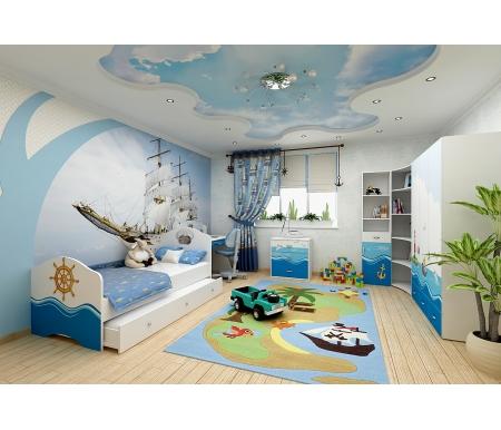 Детская комната Океан (Ocean) (комплектация 3)Готовые наборы<br>Детская комната Океан (Ocean) станет чудесным подарком для ребенка. <br> <br>  В конструкции мебели применяется ДСП немецкого производства, покрытая современными эмалями, благодаря которым за поверхностями мебели легко ухаживать. Для производства используются исключительно экологически чистые материалы. <br>    <br>   <br>    Рисунки нанесены акриловыми красками - они не выгорают на солнце и ребенок их никак не отклеит, это безопасный материал.<br>   <br> <br>   В комплект входят: кровать с дополнительным выдвижным ящиком, комод, стеллаж узкий, стеллаж угловой, шкаф трехдверный и стол. <br> <br>   <br>    <br>   <br> <br>  Размер ящика 90 см х 150 см:<br> <br>  Ширина - 150 см.<br> <br>  Глубина - 95 см.<br> <br>  Высота - 29,8 см.<br> <br>   <br>    <br>   <br> <br>   <br>    Размер ящика 90 см х 180 см:<br>   <br>    Ширина - 180 см.<br>   <br>    Глубина - 95 см.<br>   <br>    Высота - 29,8 см.<br>   <br> <br>   <br>    <br>   <br> <br>  Вы можете сформировать детскую комнату самостоятельно и добавить к комплектутумба,стеллаж широкий,стол с надстройкойилишкаф двухдверный.<br><br>Размер спального места: 90 см х 160 см<br>Габариты кровати 90 х 160: 97 см х 165,2 см<br>Размер спального места: 90 см х 190 см<br>Габариты кровати 90 х 190: 97 см х 195,2 см<br>Высота кровати: 101,1 см<br>Стеллаж (узкий): 45,2 см х 36,6 см х 196,7 см<br>Стеллаж: 75,2 см х 36,8 см х 161,1 см<br>Стол: 100 см х 60 см х 108,5 см<br>Комод: 75,2 см х 40,2 см х 81,7 см<br>Шкаф: 137,7 см х 60 см х 196,7 см<br>Материал: ДСП<br>Цвет корпуса: белый