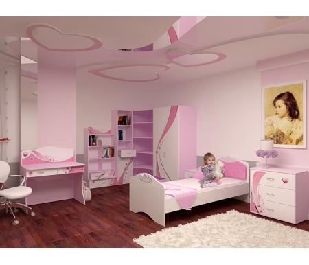 Детская комната Принцесс (Princess) (комплектация 1)Готовые наборы<br>Детская комната Принцесс (Princess)станет чудесным подарком для ребенка. <br> <br>  В конструкции мебели применяется ДСП немецкого производства, покрытая современными эмалями, благодаря которым за поверхностями мебели легко ухаживать. Для производства используются исключительно экологически чистые материалы. <br>    <br>   <br>    Рисунки нанесены акриловыми красками - они не выгорают на солнце и ребенок их никак не отклеит, это безопасный материал.<br>   <br> <br>   В комплект входят: кровать, комод, стеллаж узкий, стеллаж угловой, стеллаж широкий, шкаф двухдверный, тумба и стол. <br> <br>   <br>    <br>   <br> <br>  Вы можете сформировать детскую комнату самостоятельно и добавить к комплектустол-стеллаж,стол с надстройкойилишкаф трехдверный.<br><br>Размер спального места: 90 см х 160 см<br>Габариты кровати 90 х 160: 97 см х 165,2 см<br>Размер спального места: 90 см х 190 см<br>Габариты кровати 90 х 190: 97 см х 195,2 см<br>Высота кровати: 101,1 см<br>Стеллаж (узкий): 45,2 см х 36,6 см х 196,7 см<br>Стеллаж (угловой): 91,2 см х 75 см х 196,7 см<br>Стол: 100 см х 60 см х 108,5 см<br>Комод: 75,2 см х 40,2 см х 81,7 см<br>Шкаф: 92 см х 60 см х 196,7 см<br>Тумба: 40,2 см х 40,2 см х 57,7 см<br>Стеллаж (широкий): 75,2 см х 36,8 см х 161,1 см<br>Материал: ДСП<br>Цвет корпуса: розовый