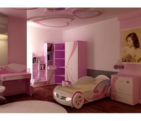 Детская комната Принцесс (Princess) (комплектация 2)Готовые наборы<br>Детская комната Принцесс (Princess)станет чудесным подарком для ребенка. <br> <br>  В конструкции мебели применяется ДСП немецкого производства, покрытая современными эмалями, благодаря которым за поверхностями мебели легко ухаживать. Для производства используются исключительно экологически чистые материалы. <br>    <br>   <br>    Рисунки нанесены акриловыми красками - они не выгорают на солнце и ребенок их никак не отклеит, это безопасный материал.<br>   <br> <br>   В комплект входят: кровать-машина, комод, стеллаж узкий, стеллаж угловой, стеллаж широкий, шкаф двухдверный и стол. <br> <br>   <br>    <br>   <br> <br>  Вы можете сформировать детскую комнату самостоятельно и добавить к комплектустол-стеллаж,тумбу прикроватную,стол с надстройкойилишкаф трехдверный.<br><br>Размер спального места: 90 см х 160 см<br>Габариты кровати 90 х 160: 110 см х 184 см<br>Размер спального места: 90 см х 190 см<br>Габариты кровати 90 х 190: 110 х 214 см<br>Высота кровати: 66 см<br>Стеллаж (узкий): 45,2 см х 36,6 см х 196,7 см<br>Стеллаж (угловой): 91,2 см х 75 см х 196,7 см<br>Стол: 100 см х 60 см х 108,5 см<br>Комод: 75,2 см х 40,2 см х 81,7 см<br>Шкаф: 92 см х 60 см х 196,7 см<br>Стеллаж (широкий): 75,2 см х 36,8 см х 161,1 см<br>Материал: ДСП<br>Цвет корпуса: розовый