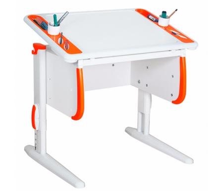 Растущая парта TECHNO  СУТ 26 белый / оранжевыйРастущие парты<br>Парта Дэми СУТ 26 - это компактный рабочий стол, который ваш ребенок оценит за яркий дизайн и удобную конструкцию. По бокам столешницы расположены два органайзера, включающие отверстия для стаканов с водой и пеналы для хранения канцелярии. Стол выполнен в универсальном белом цвете, который подойдет в комнату мальчика и девочки. Размер столешницы – 80 см на 55 см.<br><br>  <br>    <br>  Особенности парты Дэми:<br><br>  - Парта предусматривает регулировку по высоте и рассчитана на рост ребенка от 100 см до 185 см.<br>    <br>  - В изделие встроен 9-ступенчатый механизм наклона столешницы, позволяющий установить наклон парты от 0 до 26°. Ребенок может зафиксировать столешницу в том положении, которое будет удобно ему для выполнения письменных работ, чтения и рисования.<br>    <br>  - Края столешницы имеют специальные скругленные накладки и полиуретановый бампер, снижающие травмоопансость изделия.<br>    <br>  - Подпятники на ножках обеспечивают устойчивость стола.<br>    <br>  - Встроенные органайзеры по боком парты позволят удобно разместить все канцелярские принадлежности.<br>    <br>  - Парту можно использовать с 5 лет и до окончания ребенком школы.<br>    <br>  <br>    <br>  Материал: ЛДСП.<br>
