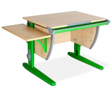 Растущая парта Classic СУТ 14 с полкой навесной 14.290 клен / зеленыйРастущие парты<br>Парта входит, как базовый школьный продукт производителя с интересным дополнением – укороченной боковой приставкой в стабильно горизонтальном положении. <br> <br>  <br> <br> <br>Параметры укороченной боковой приставки – 25 х 55 см.<br> <br>Параметры столешницы – 75 х 55 см.<br> <br>Парта изготовлена из ЛДСП и прочного металлокаркаса.<br> <br>Адаптация под рост ребенка (120 – 198см).<br> <br>Такой формат позволяет использовать парту для полного возрастного цикла от первого до выпускного класса.<br> <br> <br>    <br>      <br>     <br>  Преимущества<br> <br> <br>  <br> <br> <br>Ступенчатое урегулирование необходимого для ученика угла наклона.<br> <br>Оптимальная дистанция от головы до монитора (около 50см).<br> <br>Ортопедическая направленность трансформера для формирования правильной осанки.<br> <br>Установка парты на нестандартной поверхности при необходимости.<br> <br> <br>  <br>  <br>  Общие особенности парты:<br> <br>   <br>    <br>   <br> <br>  •Пластиковые накладки.<br> <br>  •Наличие пенала для канцелярских принадлежностей.<br> <br>  • Полка для учебных пособий.<br> <br>  • Возможность регулирования высоты парты от 53 до 82 см.<br> <br>  • Шкала на боковой стойке парты для определения роста ученика.<br> <br>   <br>    <br>   <br> <br>  Дополнительно предусмотрена регуляция подпятников.<br>