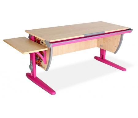 Растущая парта Imagine СУТ 15 с навесной полкой  СУТ 14.290 клен / розовый с рисунком цветыРастущие парты<br>Изделие выполнено из ЛДСП. Ножки регулируются по высоте, угол столешницы изменяется до 26 градусов - 9 ступеней регулировки. <br> <br>  Парта оснащена:<br> <br>  - пластиковыми накладками;<br> <br>   <br>    - регулируемыми подпятниками;<br>   <br>    - пеналом для ручек и карандашей;<br>   <br> <br>  - крючком для портфеля;  <br>    - держателем-линейкой.<br>   <br>     <br>      <br>     <br>   <br>     <br>      Парта идет в комплекте с боковой навесной полкой, которая сделана из того же материала, что и стол.<br>     <br>      Параметры полки: ширина - 25 см, глубина - 55 см.<br>
