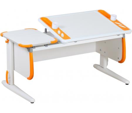 Растущая парта TECHNO СУТ 31 белый / оранжевыйРастущие парты<br>Парта Дэми СУТ 3 - это самый современный детский стол, в котором предусмотрено все, чтобы вашего ребенку было комфортно заниматься дома. Стол имеет раздельную столешницу, одна сторона которой поднимается под определенным углом, а вторая остается неподвижной. Благодаря такому решению ребенок может писать или рисовать, установив удобный ему наклон столешницы, а канцелярия останется на второй части столешницы и не скатится на пол.<br> <br>На подъемной части парты расположены два органайзера, включающие пеналы для ручек и отверстия для стаканов. Размер столешницы – 120 см на 55 см.<br> <br> <br>  <br> <br> <br>Особенности парт Дэми: <br>  <br> - Парта предусматривает регулировку по высоте и рассчитана на рост ребенка от 120 см до 198 см.<br> <br>- В изделие встроен 9-ступенчатый механизм наклона столешницы, позволяющий установить наклон парты от 0 до 26°. Ребенок может зафиксировать столешницу в том положении, которое будет удобно ему для выполнения письменных работ, чтения и рисования.<br> <br>- Края столешницы имеют специальные скругленные накладки, снижающие травмоопансость изделия.<br> <br>- Подпятники на ножках обеспечивают устойчивость стола.<br> <br>- Парту можно использовать с 5 лет и до окончания ребенком школы.<br> <br> <br>  <br> <br> <br>Материал: ЛДСП.<br>