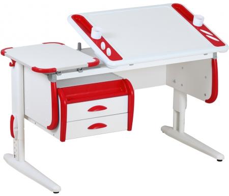 Растущая парта TECHNO СУТ 31 с навесной тумбой ТСН 01-01 белый / красныйРастущие парты<br>Параметры парты (Г x Ш x В): 55 см x 120 см x 53 см.<br>Параметры тумбы ( Ш х Г х В): 58.5 см - 43.5 см - 28.5 см.<br>