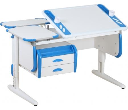 Растущая парта TECHNO СУТ 31 с навесной тумбой ТСН 01-01 и задними полками СУТ 26.230 (2 шт.) белый / синийРастущие парты<br>Парта Дэми СУТ 3 - это самый современный детский стол, в котором предусмотрено все, чтобы вашего ребенку было комфортно заниматься дома. Стол имеет раздельную столешницу, одна сторона которой поднимается под определенным углом, а вторая остается неподвижной. Благодаря такому решению ребенок может писать или рисовать, установив удобный ему наклон столешницы, а канцелярия останется на второй части столешницы и не скатится на пол.<br><br>  На подъемной части парты расположены два органайзера, включающие пеналы для ручек и отверстия для стаканов. Размер столешницы – 120 см на 55 см.<br><br>  <br>    <br>  <br><br>  Особенности парт Дэми: <br><br>  - Парта предусматривает регулировку по высоте и рассчитана на рост ребенка от 120 см до 198 см.<br><br>  - В изделие встроен 9-ступенчатый механизм наклона столешницы, позволяющий установить наклон парты от 0 до 26°. Ребенок может зафиксировать столешницу в том положении, которое будет удобно ему для выполнения письменных работ, чтения и рисования.<br><br>  - Края столешницы имеют специальные скругленные накладки, снижающие травмоопансость изделия.<br><br>  - Подпятники на ножках обеспечивают устойчивость стола.<br><br>  - Парту можно использовать с 5 лет и до окончания ребенком школы.<br><br>  <br>    <br>  <br><br>  Размер задней одноярусной полки 2 шт (ДxШ): 55 см x 25 см.<br><br>  Размер подвесной тумбы (ШхГхВ): 58,5 см х 43,5 см х 28,5 см.<br><br>  Материал: ЛДСП.<br>