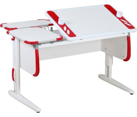 Растущая парта TECHNO СУТ 31 с задними полками  СУТ 26.230 (2 шт.) белый / красныйРастущие парты<br>Парта Дэми СУТ 3 - это самый современный детский стол, в котором предусмотрено все, чтобы вашего ребенку было комфортно заниматься дома. Стол имеет раздельную столешницу, одна сторона которой поднимается под определенным углом, а вторая остается неподвижной. Благодаря такому решению ребенок может писать или рисовать, установив удобный ему наклон столешницы, а канцелярия останется на второй части столешницы и не скатится на пол.<br><br>На подъемной части парты расположены два органайзера, включающие пеналы для ручек и отверстия для стаканов. Размер столешницы – 120 см на 55 см.<br><br><br>  <br><br><br>Особенности парт Дэми:<br>  <br>- Парта предусматривает регулировку по высоте и рассчитана на рост ребенка от 120 см до 198 см.<br><br>- В изделие встроен 9-ступенчатый механизм наклона столешницы, позволяющий установить наклон парты от 0 до 26°. Ребенок может зафиксировать столешницу в том положении, которое будет удобно ему для выполнения письменных работ, чтения и рисования.<br><br>- Края столешницы имеют специальные скругленные накладки, снижающие травмоопансость изделия.<br><br>- Подпятники на ножках обеспечивают устойчивость стола.<br><br>- Парту можно использовать с 5 лет и до окончания ребенком школы.<br>  <br><br>  <br><br><br>Размеры задней одноярусной полки (ДxШ): 55 см x 25 см.<br>Материал: ЛДСП.<br>