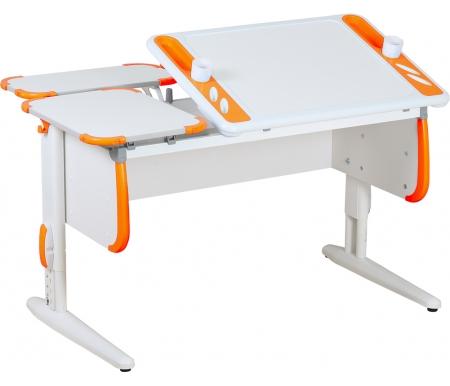 Растущие парты TECHNO СУТ 31 с задними полками  СУТ 26.230 (2 шт.) белый / оранжевый  Растущая парта ДЭМИ