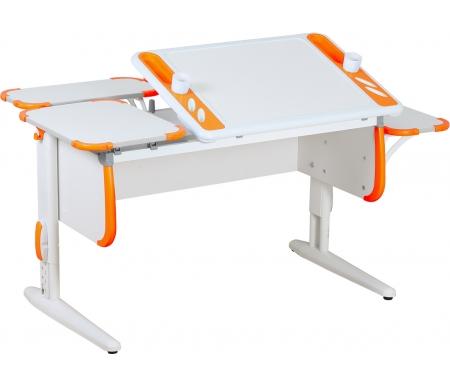 Растущая парта TECHNO СУТ 31 с задними полками СУТ 26.230 (2 шт.) и навесной полкой СУТ 26.230 белый / оранжевыйРастущие парты<br>Парта Дэми СУТ 3 - это самый современный детский стол, в котором предусмотрено все, чтобы вашего ребенку было комфортно заниматься дома. Стол имеет раздельную столешницу, одна сторона которой поднимается под определенным углом, а вторая остается неподвижной. Благодаря такому решению ребенок может писать или рисовать, установив удобный ему наклон столешницы, а канцелярия останется на второй части столешницы и не скатится на пол.<br><br>На подъемной части парты расположены два органайзера, включающие пеналы для ручек и отверстия для стаканов. Размер столешницы – 120 см на 55 см.<br><br><br>  <br><br><br>Особенности парт Дэми: <br><br>- Парта предусматривает регулировку по высоте и рассчитана на рост ребенка от 120 см до 198 см.<br><br>- В изделие встроен 9-ступенчатый механизм наклона столешницы, позволяющий установить наклон парты от 0 до 26°. Ребенок может зафиксировать столешницу в том положении, которое будет удобно ему для выполнения письменных работ, чтения и рисования.<br><br>- Края столешницы имеют специальные скругленные накладки, снижающие травмоопансость изделия.<br><br>- Подпятники на ножках обеспечивают устойчивость стола.<br><br>- Парту можно использовать с 5 лет и до окончания ребенком школы.<br><br><br>  <br><br><br>Размер задней одноярусной полки (ДxШ): 55 см x 25 см.<br><br>Размер боковой полки (ДxШ): 55 см x 25 см.<br><br>Материал: ЛДСП.<br>