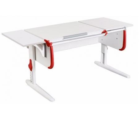 Растущая парта White СУТ 25 с навесной полкой СУТ 24.290 белый / красныйРастущие парты<br>Парта имеет раздельную столешницу, одна часть которой поднимается под определенным углом, а вторая остается в горизонтальном положении. Ребенок может писать или рисовать, установив удобный ему наклон столешницы, а все необходимые предметы останутся на неподвижной части стола и не скатятся вниз. Парта также оборудована дополнительной боковой полкой, на которой можно располагать учебные материалы. Спереди стола находится удобный пенал для канцелярии. Размер столешницы – 120 см на 55 см.<br><br><br>  <br><br><br>Особенности парт Дэми:<br><br>- Парта предусматривает регулировку по высоте и рассчитана на рост ребенка от 120 см до 198 см.<br><br>- В изделие встроен 9-ступенчатый механизм наклона столешницы, позволяющий установить наклон парты от 0 до 26°. Ребенок может зафиксировать столешницу в том положении, которое будет удобно ему для выполнения письменных работ, чтения и рисования.<br><br>- Угол наклона можно менять как у большой, так и малой столешницы.<br><br>- Края столешницы имеют специальные скругленные накладки, снижающие травмоопансость изделия.<br><br>- Подпятники на ножках обеспечивают устойчивость стола.<br><br>- Парта оснащена лотком-пеналом для ручек и карандашей. Глубина лотка-пенала: 6 см.<br><br>- Линейка-держатель не даст тетрадками упасть с поднятой столешницы, а благодаря крючку вы сможете удобно разместить рюкзак.<br><br>- Парту можно использовать с 5 лет и до окончания ребенком школы.<br><br><br>  <br>Ширина малой столешницы: 43 см.<br><br>Размер боковой полки (ШхГ): 25 см х 55 см.<br>  <br><br><br>Материал: ЛДСП.<br>