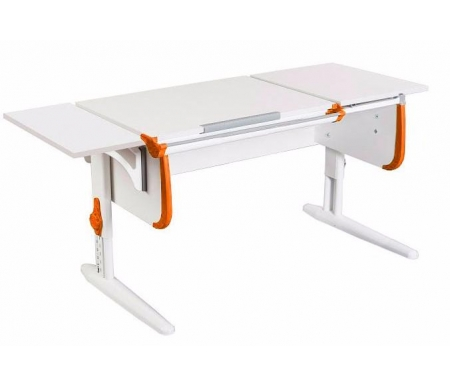 Растущая парта White СУТ 25 с навесной полкой СУТ 24.290 белый / оранжевыйРастущие парты<br>Парта имеет раздельную столешницу, одна часть которой поднимается под определенным углом, а вторая остается в горизонтальном положении. Ребенок может писать или рисовать, установив удобный ему наклон столешницы, а все необходимые предметы останутся на неподвижной части стола и не скатятся вниз. Парта также оборудована дополнительной боковой полкой, на которой можно располагать учебные материалы. Спереди стола находится удобный пенал для канцелярии. Размер столешницы – 120 см на 55 см.<br><br><br>  <br><br><br>Особенности парт Дэми:<br><br>- Парта предусматривает регулировку по высоте и рассчитана на рост ребенка от 120 см до 198 см.<br><br>- В изделие встроен 9-ступенчатый механизм наклона столешницы, позволяющий установить наклон парты от 0 до 26°. Ребенок может зафиксировать столешницу в том положении, которое будет удобно ему для выполнения письменных работ, чтения и рисования.<br><br>- Угол наклона можно менять как у большой, так и малой столешницы.<br><br>- Края столешницы имеют специальные скругленные накладки, снижающие травмоопансость изделия.<br><br>- Подпятники на ножках обеспечивают устойчивость стола.<br><br>- Парта оснащена лотком-пеналом для ручек и карандашей. Глубина лотка-пенала: 6 см.<br><br>- Линейка-держатель не даст тетрадками упасть с поднятой столешницы, а благодаря крючку вы сможете удобно разместить рюкзак.<br><br>- Парту можно использовать с 5 лет и до окончания ребенком школы.<br><br><br>  <br>Ширина малой столешницы: 43 см.<br><br>Размер боковой полки (ШхГ): 25 см х 55 см.<br>  <br><br><br>Материал: ЛДСП.<br>
