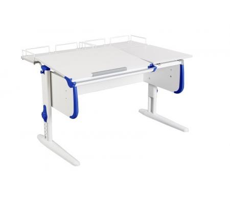 Растущая парта White СУТ 25 с задними полками СУТ 15.210 (2 шт.)  белый / синийРастущие парты<br>Парты Дэми серии White – это удобные детские столы, выполненные в белом цвете, который прекрасно подходит в любую обстановку. Белый каркас парты разбавлен цветными пластиковыми накладками, делающими стол более ярким и интересным для детей. <br>Парта имеет раздельную столешницу, у которой можно поднять одну часть под углом от 0 до 26°, а вторую оставить в горизонтальном положении. Это сделано для того, чтобы за основной столешницей ребенок работал, а на дополнительной держал необходимую ему канцелярию. Части столешницы можно менять местами.<br> <br>Стол комплектуется двумя задними приставками, на которых удобно располагать компьютер или учебные материалы. Размеры столешницы – 120 см на 55 см.<br> <br> <br>  <br> <br> <br>Особенности парт Дэми:<br> <br>- Парта предусматривает регулировку по высоте и рассчитана на рост ребенка от 120 см до 198 см.<br> <br>- В изделие встроен 9-ступенчатый механизм наклона столешницы, позволяющий установить наклон парты от 0 до 26°. Ребенок может зафиксировать столешницу в том положении, которое будет удобно ему для выполнения письменных работ, чтения и рисования.<br> <br>- Угол наклона можно менять как у большой, так и малой столешницы.<br> <br>- Края столешницы имеют специальные скругленные накладки, снижающие травмоопансость изделия.<br> <br>- Подпятники на ножках обеспечивают устойчивость стола.<br> <br>- Парта оснащена лотком-пеналом для ручек и карандашей. Глубина лотка-пенала: 6 см.<br> <br>- Линейка-держатель не даст тетрадками упасть с поднятой столешницы, а благодаря крючку вы сможете удобно разместить рюкзак.<br> <br>- Парту можно использовать с 5 лет и до окончания ребенком школы. <br>  <br> <br>  <br> <br> <br>Ширина малой столешницы: 43 см.<br> <br>Размер одноярусной задней полки 2 шт (ШхГ): 55 см х 25 см.<br> <br>Материал: ЛДСП.<br>