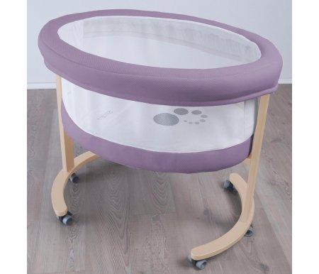 Колыбель Micuna SMART МО-1456 FRESH фиолетовая c основанием натурального цветаКолыбели<br>Эта нежная и уютная колыбель с тканевым мягким ложе прекрасно подойдет для ребенка первых месяцев жизни. Она привлекательна своими небольшими размерами, в ней новорожденному будет гораздо комфортнее и спокойнее, чем в просторной классической детской кроватке. Тканевые бортики не позволят малышу удариться или ушибиться, а прозрачные стенки не препятствуют вашему наблюдению и контролю за ребенком. Все используемые материалы прекрасно пропускают воздух и не препятствуют дыханию новорожденного. А благодаря роликам вы сможете всегда подкатить колыбель к кровати, чтобы быть рядом с ребенком и ночью.<br><br>Характеристики:<br>  <br>- основание выполнено из древесины натурального бука;<br>  <br>- внутренняя люлька представляет собой мягкую корзину из ткани с прозрачными бортиками;<br>  <br>- для перемещения колыбельки ножки снабжены 6 съемными колесиками;<br>  <br>- для фиксации колыбели в выбранном месте используются блокираторы колес;<br>  <br>- колыбель Micuna Smart Fresh поставляется с матрасом из полиуретана и комплектом постельного детского белья, состоящего из простыни, подушки, пододеяльника и одеяла. Простыня и пододеяльник соединяются молнией, чтобы ребенок не снял с себя одеяло.<br><br><br><br><br><br>Внутренние размеры корзины (ДхШхВ): 79 см х 52 см х 47 см.<br>  <br>Размер постельных принадлежностей: 60 см х 53 см.<br>  <br>Размер подушки: 48 см х 23 см.<br>