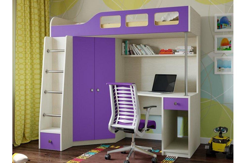 Кровать-чердак Астра 7 дуб молочный / фиолетовый