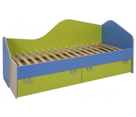 Кровать односпальная МауглиКровати для подростков<br>Кровать односпальная Маугливыполнена из ЛДСП (толщина 16 мм и 25 мм), покрытой кромкой ПВХ (0,4 мм и 1,0 мм). Все углы кровати скруглены, что обезопасит сон ребенка. <br> <br>  <br> <br> <br>Габариты каждого ящика на колесиках: ширина - 95 см, высота - 23 мм, глубина - 84 см.<br> <br> <br>  <br> <br> <br>Поставляется в разобранном виде - 3 упаковки.<br> <br> <br>  <br> <br> <br> <br>   <br>    Матрас не входит в стоимость кровати! Необходимые размеры матраса для кровати - 80 см х 190 см.<br>   <br>     <br>      <br>     <br>   <br>     <br>      <br>     <br>       <br>        <br>       <br>     <br>   <br> <br>   <br>    Выбрать матрас<br>   <br>    Матрас не входит в стоимость кровати, но у нас вы можете приобрести ортопедический матрас подходящего размера. Доступен широкий ассортимент, посмотреть и выбрать можно в разделе матрасов. При возникновении вопросов обращайтесь к нашим менеджерам.<br><br>Размер спального места: 80 см х 190 см<br>Габариты кровати: 84,5 см х 195 см<br>Высота: 87 см<br>Материал: ЛДСП, ПВХ кромка<br>Ящик для белья: 2 шт.<br>Цвет: дуб млечный / оранжевый / салатовый, дуб млечный / голубой / салатовый<br>Объем упаковки: 0,190 куб. м<br>Вес: 98 кг
