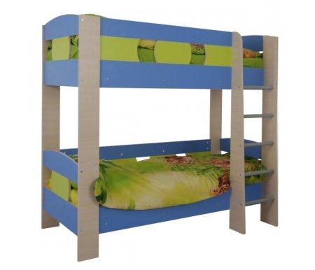 Кровать двухъярусная МауглиКровати двухъярусные<br>Кровать двухъярусная Маугливыполнена из ЛДСП (толщина 16 мм и 25 мм), покрытой кромкой ПВХ (0,4 мм и 1,0 мм). Все углы кровати скруглены, что обезопасит сон ребенка. Кровать оснащена деревянным ортопедическим основанием. <br><br> <br> <br>  <br> <br> <br>Поставляется в разобранном виде - 4 упаковки.<br> <br> <br>  <br> <br> <br> <br>   <br>    Матрас не входит в стоимость кровати! Необходимые размеры матраса для кровати - 80 см х 190 см.<br>   <br>     <br>      <br>     <br>   <br>     <br>      <br>     <br>       <br>        <br>       <br>     <br>   <br> <br>   <br>    Выбрать матрас<br>   <br>    Матрас не входит в стоимость кровати, но у нас вы можете приобрести ортопедический матрас подходящего размера. Доступен широкий ассортимент, посмотреть и выбрать можно в разделе матрасов. При возникновении вопросов обращайтесь к нашим менеджерам.<br><br>Размер спального места: 80 см х 190 см<br>Габариты кровати: 102,5 см х 195 см<br>Высота: 177,5 см<br>Материал: ЛДСП, ПВХ кромка<br>Цвет: дуб млечный / оранжевый / салатовый, дуб млечный / голубой / салатовый<br>Объем упаковки: 0,191 куб. м<br>Вес: 92 кг