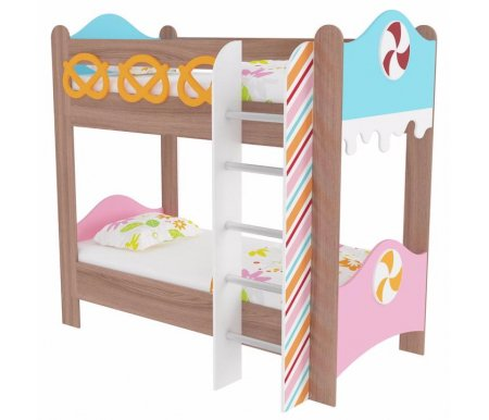 Кровать двухъярусная Пряничный домикКровати двухъярусные<br>Кровать двухъярусная Пряничный домик выполнена из ЛДСП. Все углы кровати скруглены, что обезопасит сон ребенка. <br>Данная модель входит в набор детской мебели Пряничный домик. Вы можете приобрести кровать как отдельно, так и в комплекте.<br> <br> <br>  <br> <br> <br>Кровать изготовлена из экологически безопасных материалов. <br>  <br> <br>   <br>    <br>   <br> <br>  Поставляется в разобранном виде - 6 упаковок.<br><br>Размер спального места: 80 см х 190 см<br>Габариты кровати: 102,5 см х 195 см<br>Высота: 185,7 см<br>Материал: ЛДСП<br>Цвет: ясень шимо темный<br>Объем упаковки: 0,224 куб. м<br>Вес: 102 кг