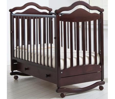 Кровать детская на колесиках с дугой для качания Анжелика махагонКроватки для новорожденных<br>Детская кроватка Анжелика имеет дуги-полозья для раскачивания и две пары съемных колесиков для более легкого перемещения кроватки в комнатном пространстве. <br>Так же у данной кроватки можно опускать передний бортик или вовсе его снимать при необходимости, ложе кроватки можно устанавливать в 2-х положениях по высоте.<br>
