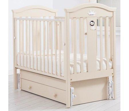 Кровать детская с универсальным маятником Даниэль слоновая костьКроватки для новорожденных<br>Кровать детская с универсальным маятником Даниэль позволяет раскачивать ложе новорожденного в 2-х направлениях: в продольном и поперечном (направление выбирается при сборке кроватки). <br>Дно кроватки можно расположить в 2-х положениях по высоте, а переднюю стенку кроватки можно опускать или снимать при необходимости.<br> <br>Изголовье данной кровати украшено стразами Swarovski в виде царя зверей и его короны.<br>