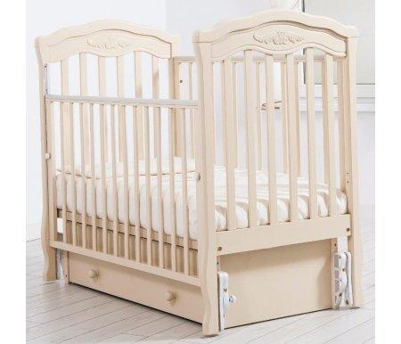 Кровать детская с универсальным маятником  Шарлотта слоновая костьКроватки для новорожденных<br>Кровать детская с универсальным маятником Шарлотта позволяет раскачивать ложе новорожденного в 2-х направлениях: в продольном и поперечном (направление выбирается при сборке кроватки). <br>Переднюю стенку кровати можно снимать или опускать для более удобного контакта с ребенком.<br> <br>На верхнюю часть перекладин наложены силиконовые накладки для защиты десен малыша. <br> <br>Аккуратный резной орнамент на изголовьях кровати напоминает о французской утонченности и изысканности.<br>