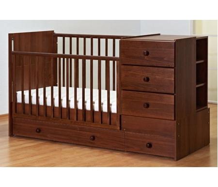 Кровать-трансформер Тереза орехКроватки для новорожденных<br>Основная особенность данной кроватки заключается в ее способности трансформироваться из младенческой кроватки с пеленальным комодом и бортиками в полноценную подростковую кровать. <br>Особенности:<br> <br>- опускаемая боковина, облегчает доступ к ребенку;<br> <br>- силиконовые накладки на бортики;<br> <br>- ящик для белья, позволяет хранить все необходимое рядом с кроваткой;<br> <br>- размер матраса в кроватку 60 см х 120 см;<br> <br>- ложе имеет два уровня;<br> <br>- вместительные ящики для белья отлично подходят для хранения;<br> <br>- бесшумные направляющие;<br> <br>Кровать Тереза выполнена из массива дуба, а комод и короб из ДСП.<br>