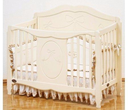 Кровать Valencia GB 1091 ivoryКроватки для новорожденных<br>Специальная детская кроватка Giovanni Valencia создана для настоящих маленьких принцесс.<br><br><br>  <br><br><br>Обратите внимание на целый комплекс преимуществ и важных особенностей кроватки:<br><br>•Использование инженерного принципа соединения элементов конструкции (трансформер 3 в 1).<br><br>•Возможность изменения высоты матраса в трех положениях.<br><br>•Верхний уровень матраса – для детей от рождения и до одного года.<br><br>•Возможность использования кроватки, как диванчика или игрового ареала.<br><br><br>  <br><br><br>Размеры под матрас –120х60.<br><br>Производитель для кроватки выбрал натуральную новозеландскую сосну с рядом деталей из МДФ.<br><br>Древесина отличается повышенной эластичностью, отсутствием сучков и глубокой структурой.<br><br>Максимальный срок практического применения изделия – до семи лет.<br><br>Модель отличается от других небывалой королевской роскошью и романтичностью. Утонченность стиля, яркий дизайн, резьба по фасаду придают изделию неповторимую красоту и шарм.<br>