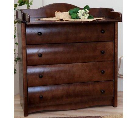 Комод 565 с настилом шоколадКомоды<br>Вместительный комод 565 состоит из четырех ящиков с откидной крышкой, которая превращается в столик для пеленания. <br>В комплекте идет мягкий настил на пеленальный столик.<br> <br>Использованные материалы: массив березы; строганый шпон ценных пород; боковины комода - столярный щит из натуральной древесины, облицованный ХДФ и декоративной бумагой; внутренние детали ящика - плоскоклееная заготовка из натурального березового шпона, окутанная бумагой.<br> <br>Отделка производится красителями на водной основе, применяются безопасные лаки и эмали.<br>