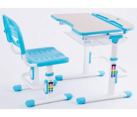 Комплект Colore blueРастущие<br>Материалы изделия: экологически чистый МДФ, экологически чистый полипропилен.<br> <br>В комплект входят: стол, стул, подстканник, крючок для портфеля, складная подставка для книг.<br> <br> <br>  <br> <br> Детская мебель-трансформер серии Colore привлекает своим современным исполнением, яркими цветовыми решениями и многофункциональностью. <br>Данный комплект состоит из стула и стола, которые регулируются по высоте под рост ребенка. Чтобы настроить парту, можно воспользоваться шкалой-подсказкой.<br> <br>Стол состоит из регулируемой по углу наклона столешницы и задней неподвижной полки, которая подойдет для хранения книг, установки лампы и других целей.<br> <br>Под столом имеется легкая сетчатая полка, куда ребенок сможет положить свои письменные принадлежности.<br> <br> <br>  <br> <br> <br>Характеристики:<br> <br> <br>  <br> <br> <br>•Многоступенчатый газлифтовый механизм настройки высоты стула и стола позволяет без труда откорректировать этот параметр согласно росту ребенка.<br> <br>•Возможность наклона рабочей поверхности стола способствует здоровому зрению.<br> <br>•Ортопедическая форма стула и регулируемая высота спинки позволяют сохранить правильную, красивую и здоровую осанку.<br> <br>•Максимальный угол наклона столешницы - 60°.<br> <br>•Специальная выемка спереди формирует правильную посадку школьника за партой и обеспечивает удобство при длительном пребывании за столом.<br>