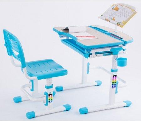 Комплект Cura blueРастущие<br>Материалы изделия: экологически чистый МДФ, экологически чистый полипропилен.<br> <br>В комплект входят: стол, стул, подстаканник, крючок для портфеля, складная подставка для книг.<br> <br> <br>  <br> <br> <br>Угол наклона столешницы: до 6,5°.<br> <br>Стол и стул Cura – это не просто красивый комплект учебной мебели для ребенка, но и забота о его здоровье.<br> <br>Каждый элемент мебели можно настроить по высоте благодаря механизму регулировки.<br> <br>Нарисованная на ножках стола и стула шкала позволит сделать посадку школьника за партой максимально удобной.<br> <br>Для хранения книг и канцелярских принадлежностей имеется специальная полка под столешницей, а также задняя часть парты. Рабочую поверхность можно наклонять под разным углом, облегчая ребенку процесс чтения, рисования или письма.<br> <br>Также работа на наклонной поверхности способствует снятию напряжения с глаз и сохранению остроты зрения.<br> <br>Спинка стула регулируется по высоте, полноценно поддерживая позвоночник ребенка.<br> <br> <br>  <br> <br> <br>Характеристики:<br> <br> <br>  <br> <br> <br>•Ортопедическая форма столешницы обеспечивает правильную посадку ребенка за столом и снижает нагрузку на руки и верхние отделы позвоночника.<br> <br>•Наличие на столе встроенной емкости для карандашей, полки для хранения канцелярских принадлежностей и книг, а так же боковой крючок для портфеля стимулируют в школьнике аккуратность и обеспечат правильную организацию его рабочего места.<br> <br>•Оптимальный вариант для детей 3-12 лет.<br>