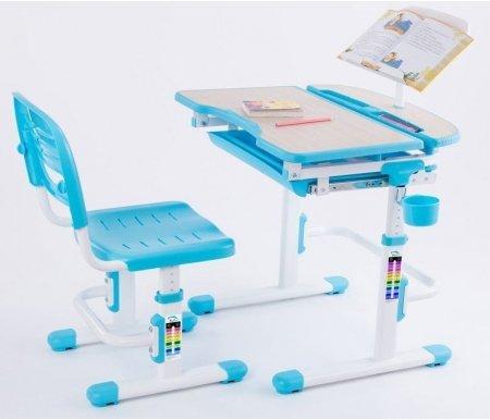 Комплект Sorriso blueРастущие<br>Материалы изделия: экологически чистый МДФ, экологически чистый полипропилен.<br> <br>В комплект входят: стол, стул, подстаканник, крючок для портфеля, складная подставка для книг.<br> <br> <br>  <br> <br> <br>Растущие стол и стул Sorriso позволят ребенку сохранить здоровую осанку и привить ему любовь к учебе.<br> <br>Благодаря компактным размерам и разнообразию цветов этот комплект отлично впишется в любую детскую комнату.<br> <br>За счет регулирования опоры ножек можно сгладить неровности пола, повысив тем самым устойчивость мебели.<br> <br>Угол наклона столешницы варьируется от 0° до 60°, это дает возможность выставить оптимальный наклон для удобства ребенка при чтении, рисовании или письме за столом.<br> <br>Внизу столешницы имеется полка для хранения письменных принадлежностей.<br> <br>Округлые контуры мебели и наличие пластиковых накладок снижают риск получения травмы.<br> <br>  <br>    <br>   <br> <br>Характеристики:<br> <br> <br>  <br> <br> <br>•Простой и надежный газлифтный механизм регулировки высоты.<br> <br>•Парты серии Sorriso доступны в различных цветовых вариациях.<br> <br>•Высота стола и стула выставляется по шкале роста.<br> <br>•Перфорированное сидение стула для доступа воздуха.<br> <br>•Устойчивая конструкция мебели для предупреждения падения.<br> <br>•Отсутствие острых углов снижает травмоопасность мебели при ее эксплуатации ребенком.<br>
