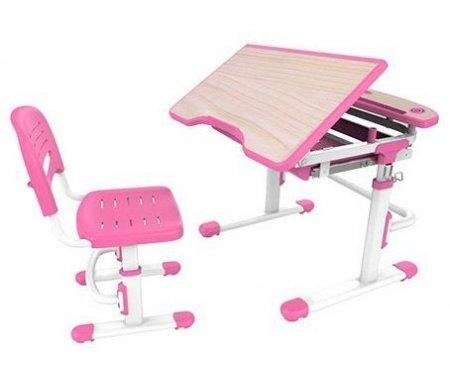 Комплект Sorriso pinkРастущие<br>Материалы изделия: экологически чистый МДФ, экологически чистый полипропилен.<br> <br>В комплект входят: стол, стул, подстаканник, крючок для портфеля, складная подставка для книг.<br> <br> <br>  <br> <br> <br>Растущие стол и стул Sorriso позволят ребенку сохранить здоровую осанку и привить ему любовь к учебе.<br> <br>Благодаря компактным размерам и разнообразию цветов этот комплект отлично впишется в любую детскую комнату.<br> <br>За счет регулирования опоры ножек можно сгладить неровности пола, повысив тем самым устойчивость мебели.<br> <br>Угол наклона столешницы варьируется от 0° до 60°, это дает возможность выставить оптимальный наклон для удобства ребенка при чтении, рисовании или письме за столом.<br> <br>Внизу столешницы имеется полка для хранения письменных принадлежностей.<br> <br>Округлые контуры мебели и наличие пластиковых накладок снижают риск получения травмы.<br> <br>  <br>    <br>   <br> <br>Характеристики:<br> <br> <br>  <br> <br> <br>•Простой и надежный газлифтный механизм регулировки высоты.<br> <br>•Парты серии Sorriso доступны в различных цветовых вариациях.<br> <br>•Высота стола и стула выставляется по шкале роста.<br> <br>•Перфорированное сидение стула для доступа воздуха.<br> <br>•Устойчивая конструкция мебели для предупреждения падения.<br> <br>•Отсутствие острых углов снижает травмоопасность мебели при ее эксплуатации ребенком.<br>