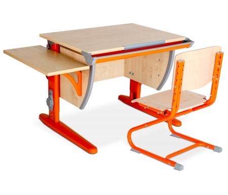 Растущая парта Classic СУТ 14 со стулом 01-01 и полкой навесной 14.290 клен / оранжевыйРастущие<br>Высоту и глубину сидения стула можно настроить в зависимости от роста пользователя. Регулировки стула могут производить только взрослые. Стол и стул выполнены из ЛДСП. <br> <br>  <br> <br> <br>Ножки стола регулируются по высоте, угол столешницы изменяется до 26 градусов - 9 ступеней регулировки. <br>   <br>    <br>   <br> <br>  Парта идет в комплекте с боковой полкой, которая сделана из того же материала, что и стол. Ширина изделия - 55 см, глубина - 25 см.<br>