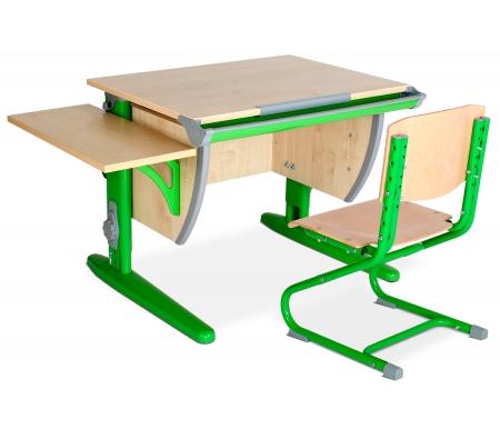 Растущая парта Classic СУТ 14 со стулом 01-01 и полкой навесной 14.290 клен / зеленыйРастущие<br>Высоту и глубину сидения стула можно настроить в зависимости от роста пользователя. Регулировки стула могут производить только взрослые. Стол и стул выполнены из ЛДСП. <br> <br>  <br> <br> <br>Ножки стола регулируются по высоте, угол столешницы изменяется до 26 градусов - 9 ступеней регулировки. <br>   <br>    <br>   <br> <br>  Парта идет в комплекте с боковой полкой, которая сделана из того же материала, что и стол. Ширина изделия - 55 см, глубина - 25 см.<br>