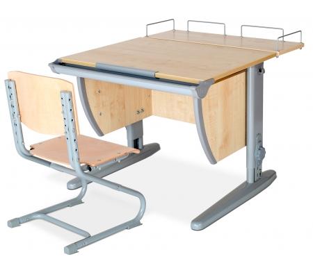 Растущая парта Classic СУТ 14 со стулом 01-01 и полкой задней 14.210 клен / серыйРастущие<br>Высоту и глубину сидения стула можно настроить в зависимости от роста пользователя. Регулировки стула могут производить только взрослые. Стол и стул выполнены из ЛДСП.<br><br>  <br><br><br>Ножки стола регулируются по высоте, угол столешницы изменяется до 26 градусов - 9 ступеней регулировки.<br>  <br>    <br>  <br><br>  Парта идет в комплекте с задней полкой, которая сделана из того же материала, что и стол. Ширина изделия - 75 см, глубина - 25 см.<br>