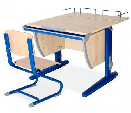 Растущая парта Classic СУТ 14 со стулом 01-01 и полкой задней 14.210 клен / синийРастущие<br>Высоту и глубину сидения стула можно настроить в зависимости от роста пользователя. Регулировки стула могут производить только взрослые. Стол и стул выполнены из ЛДСП.<br><br>  <br><br><br>Ножки стола регулируются по высоте, угол столешницы изменяется до 26 градусов - 9 ступеней регулировки.<br>  <br>    <br>  <br><br>  Парта идет в комплекте с задней полкой, которая сделана из того же материала, что и стол. Ширина изделия - 75 см, глубина - 25 см.<br>