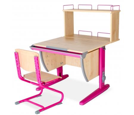 Растущая парта Classic СУТ 14 со стулом 01-01 и полкой задней 14.250 клен / розовыйРастущие<br>Высоту и глубину сидения стула можно настроить в зависимости от роста пользователя. Регулировки стула могут производить только взрослые. Стол и стул выполнены из ЛДСП. <br> <br>  <br> <br> <br>Ножки стола регулируются по высоте, угол столешницы изменяется до 26 градусов - 9 ступеней регулировки. <br>   <br>    <br>   <br> <br>  Парта идет в комплекте с задней полкой, которая сделана из того же материала, что и стол. Ширина изделия - 75 см, глубина - 25 см, высота - 45 см.<br>
