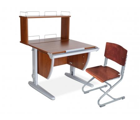 Растущая парта Classic СУТ 14 со стулом 01-01 и полкой задней 14.250 яблоня / серыйРастущие<br>Высоту и глубину сидения стула можно настроить в зависимости от роста пользователя. Регулировки стула могут производить только взрослые. Стол и стул выполнены из ЛДСП. <br> <br>  <br> <br> <br>Ножки стола регулируются по высоте, угол столешницы изменяется до 26 градусов - 9 ступеней регулировки. <br>   <br>    <br>   <br> <br>  Парта идет в комплекте с задней полкой, которая сделана из того же материала, что и стол. Ширина изделия - 75 см, глубина - 25 см, высота - 45 см.<br>