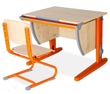 Купить Растущая парта ДЭМИ, Classic СУТ 14 со стулом 01-01 клен / оранжевый, ДСП, МДФ, дерево