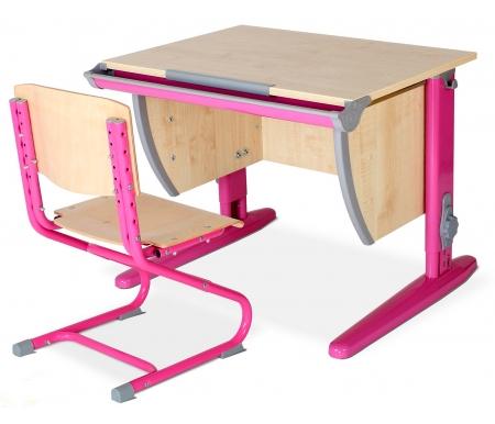 Купить Растущая парта ДЭМИ, Classic СУТ 14 со стулом 01-01 клен / розовый, ДСП, МДФ, дерево