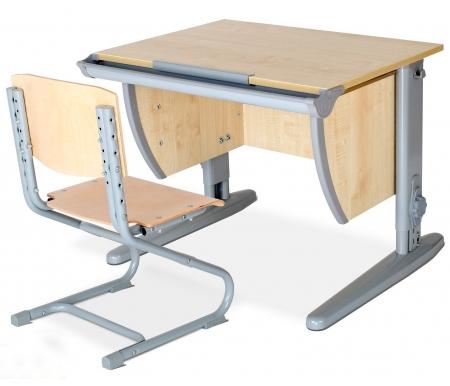 Купить Растущая парта ДЭМИ, Classic СУТ 14 со стулом 01-01 клен / серый, ДСП, МДФ, дерево